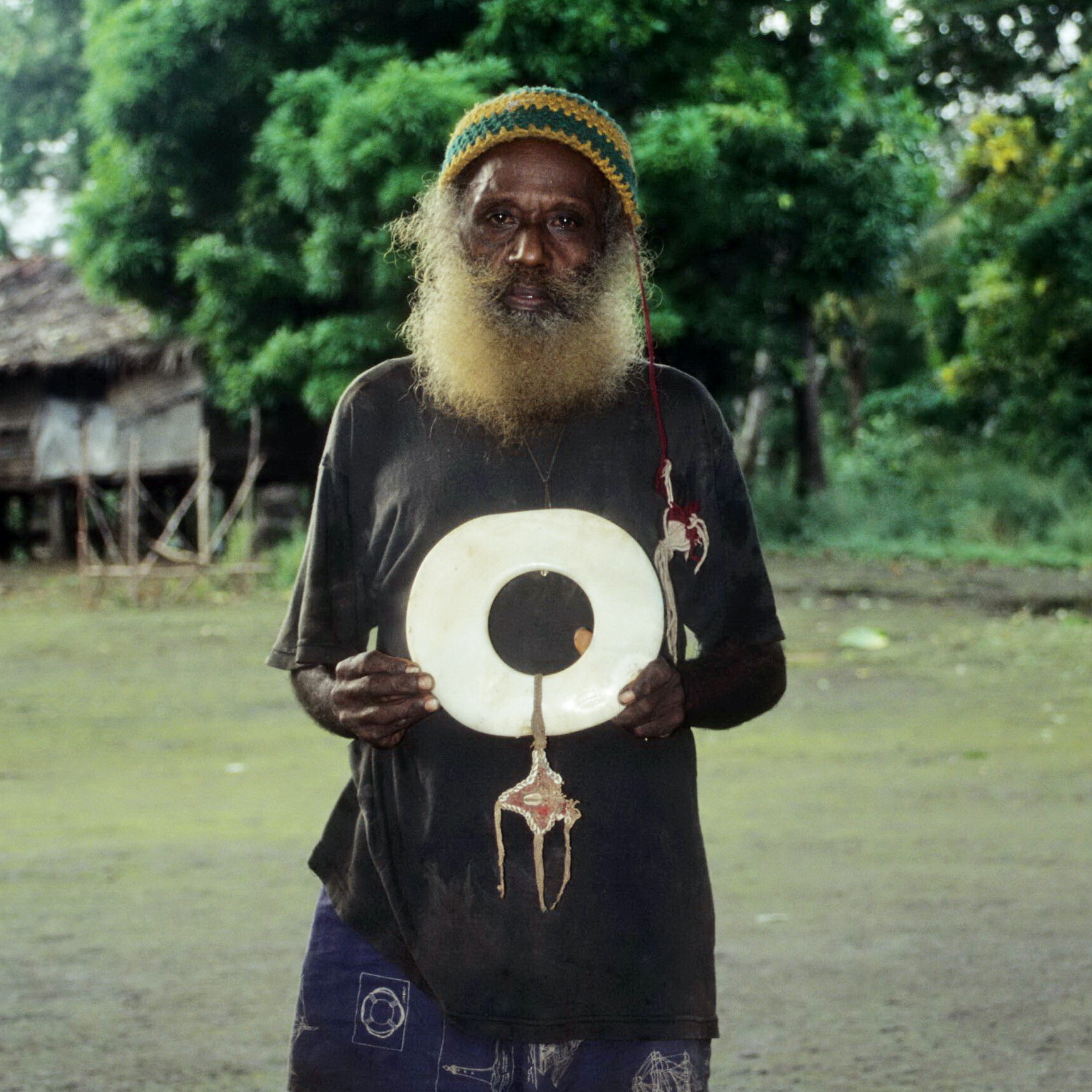 Umboi Island Man with Abelam Shell Ring, New Guinea Art, Oceanic Art, Tribal Art, Currency