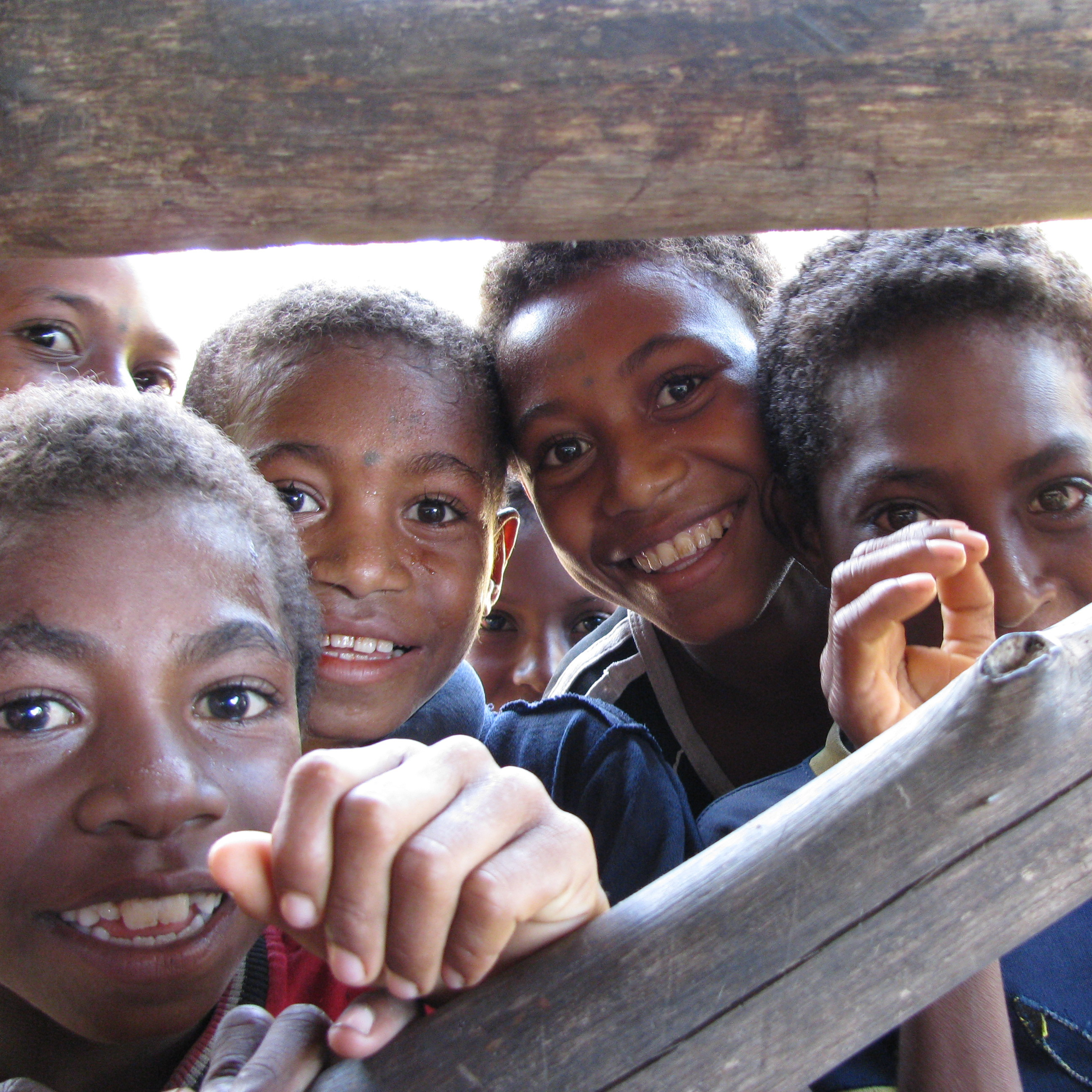 Papua New Guinea Kids Peeking at the Camera, New Guinea Art, Oceanic Art, South Pacific Art
