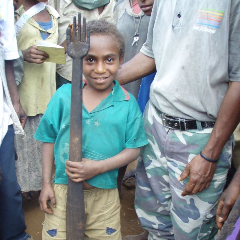 Young Boy Holding Unusual Club, Mor-Beragqau #2 village, New Guinea Art, Oceanic Art, Tribal Art, Weapon