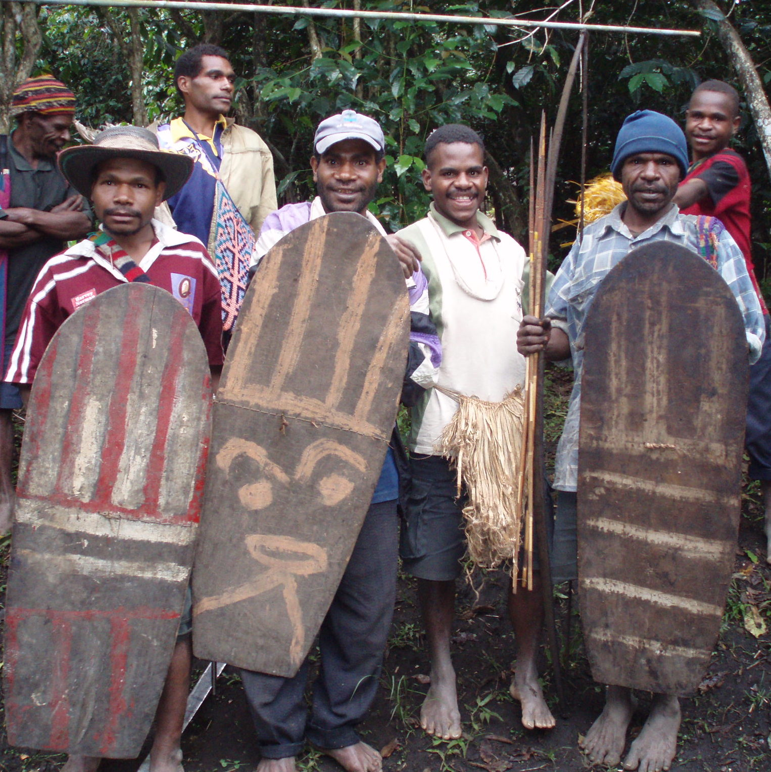 Menyamya men with shields, New Guinea Art, Oceanic Art, South Pacific Art, Tribal Art