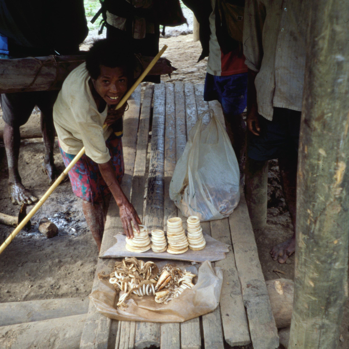 West Sepik Village Scene, Selling New Guinea Art, Clamshell Currency Rings